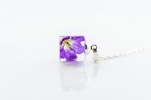Geranium resin cube sterling silver necklace