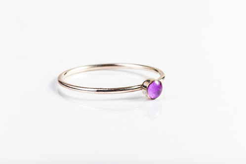 Tiny lilac hydrangea petal sterling silver resin stacking ring