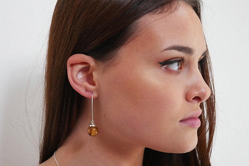 Autumn leaf sterling silver resin sphere threader earrings