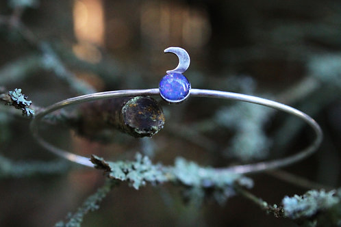 Opal triplet and moon sterling silver stacking bangle