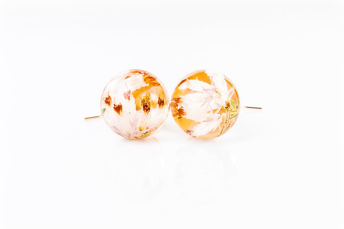Lucky white heather gold fill resin sphere drop earrings