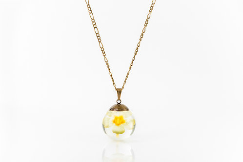 Primrose petal long bronze necklace