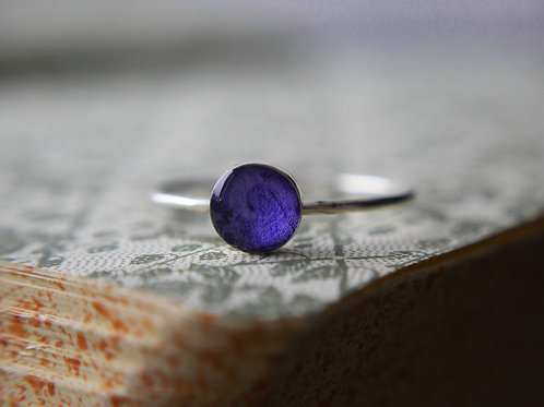 Wild violet petal sterling silver resin stacking ring