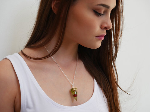 Mushroom, rowan and lichen resin pendulum necklace