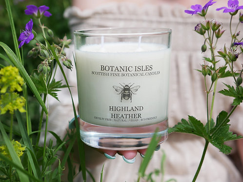 Highland heather double wick glass candle