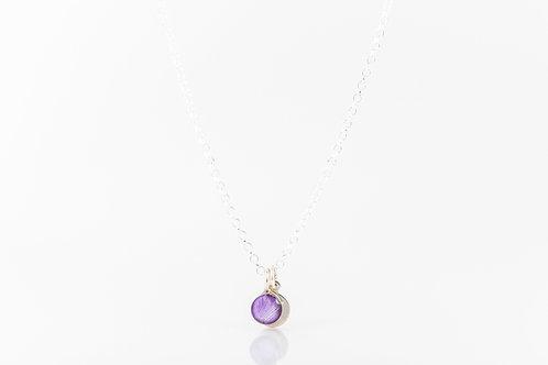 Tiny Scottish lilac hydrangea petal necklace