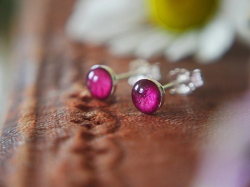 Tiny wild rose petal sterling silver stud earrings