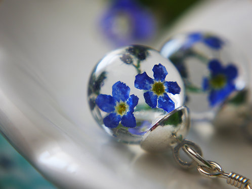 English forget me not sterling silver drop earrings