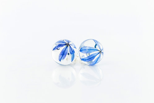 Siberian squill sterling silver resin sphere drop earrings