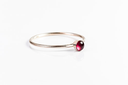Tiny wild rose petal sterling silver resin stacking ring