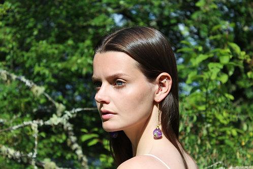 Wild geranium gold fill threader earrings