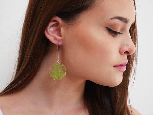 Fern disk threader drop earrings