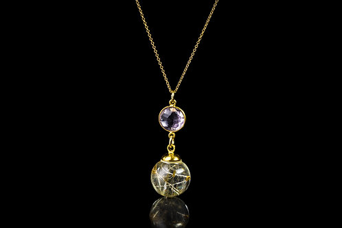Dandelion seed and purple amethyst gold fill resin sphere necklace