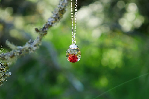 Wild strawberry sterling silver resin sphere necklace