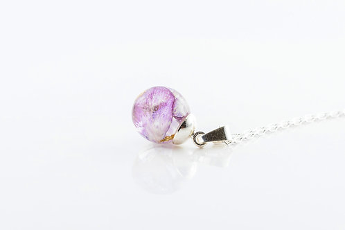 Honesty petals and gold resin sphere sterling silver necklace