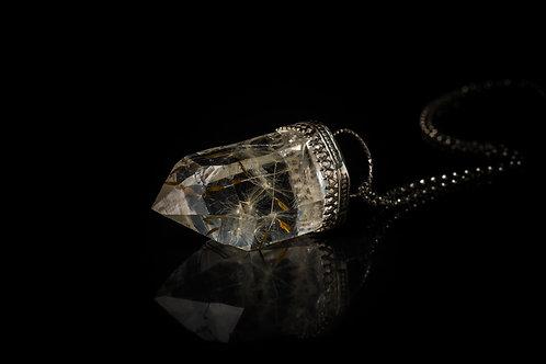 Scottish dandelion seed quartz sterling silver resin sphere necklace