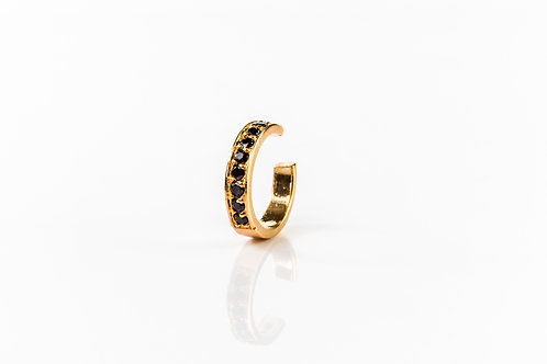 Black pave crystal gold plated sterling silver ear cuff