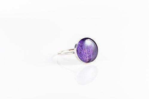 Large wild violet petal sterling silver resin stacking ring