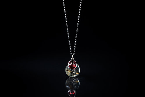 Dandelion seed and garnet sterling silver resin sphere necklace