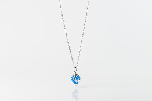 Dewdrop forget me not resin sterling silver necklace