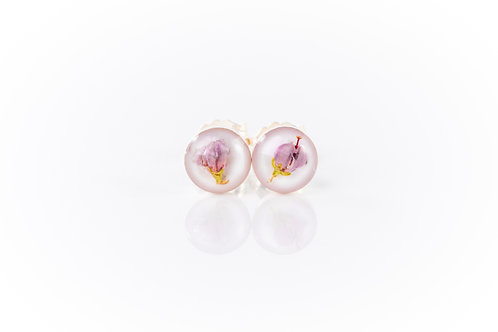 Tiny heather sterling silver resin studs