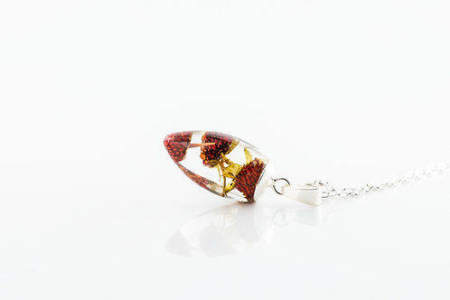 Wild strawberry droplet sterling silver resin necklace