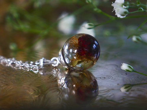 Wild raspberry sterling silver resin sphere necklace