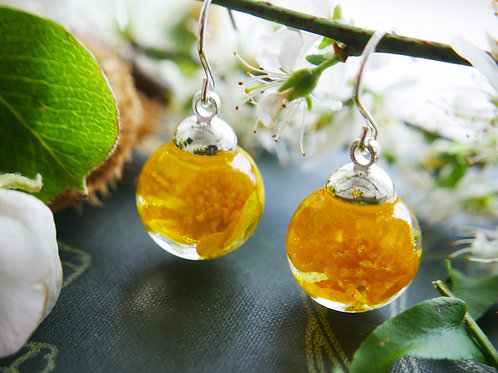English buttercup sterling silver drop earrings