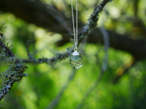Lichen sterling silver resin sphere necklace