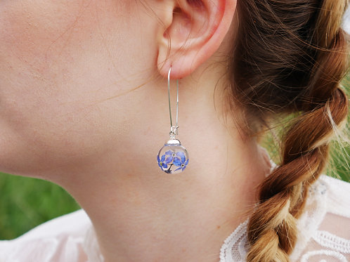 Forget me not sterling silver kidney wire earrings