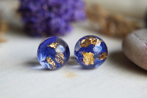 Cornflower and gold sterling silver resin stud earrings