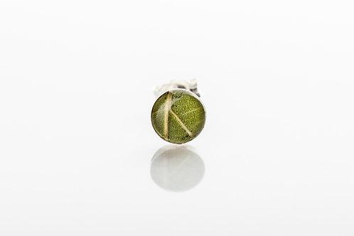 Men's green botanical resin 925 sterling silver stud earring