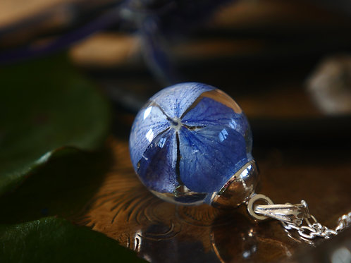 Hydrangea resin sphere sterling silver necklace