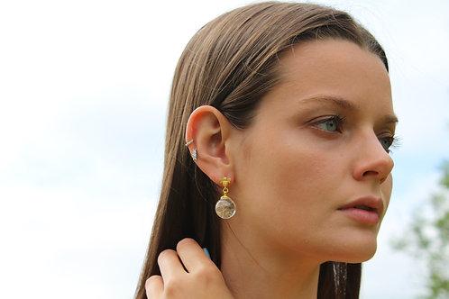 Dandelion seed bee detail gold fill stud earrings