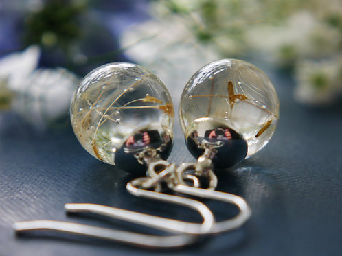 Tiny Scottish dandelion seed sterling silver resin sphere earrings