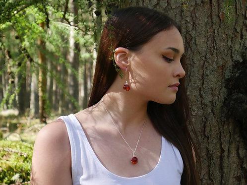 Rowan berry sterling silver resin sphere necklace