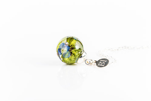 Common speedwell resin sphere sterling silver necklace