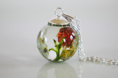 Wild strawberry, moss and lichen 925 sterling silver resin sphere necklace