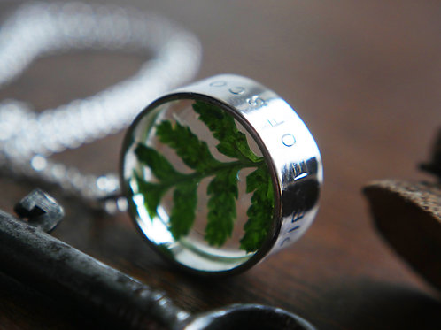 Fern circle engraved sterling silver open resin locket necklace