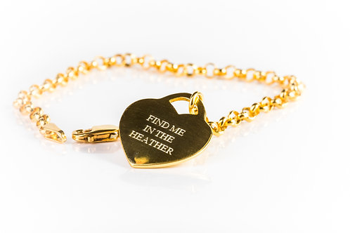 Engraved heart find me in the heather gold plated sterling silver bracelet