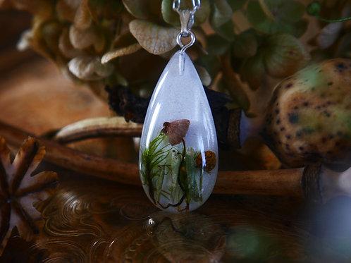 Wild mushroom, wild strawberries and moss sterling silver pendant