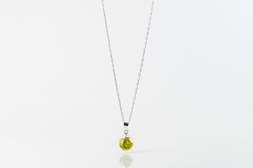Tiny seaweed resin sphere sterling silver necklace