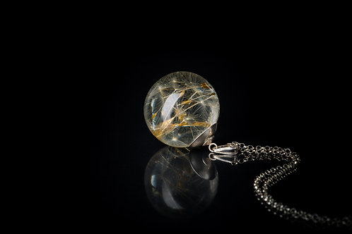 Large dandelion seed sterling silver long necklace