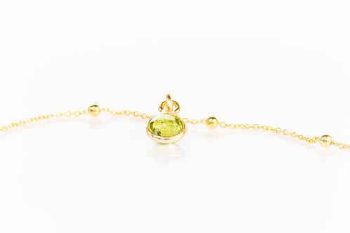 Tiny peridot gold fill precious gemstone necklace