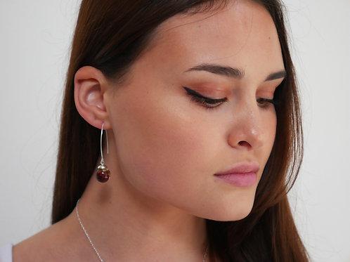 Wild raspberry sterling silver resin sphere threader earrings