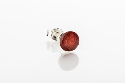 Men's red botanical resin 925 sterling silver stud earring