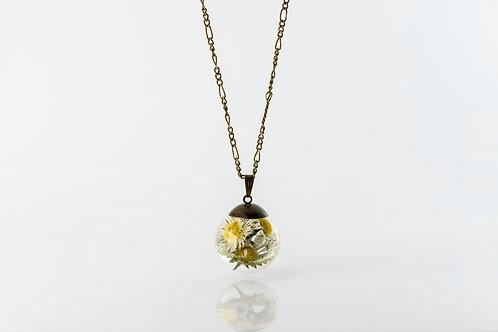 Large daisy bronze long necklace