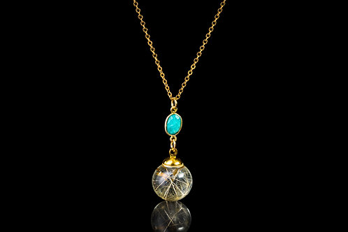 Dandelion seed and turquoise gold fill resin sphere necklace