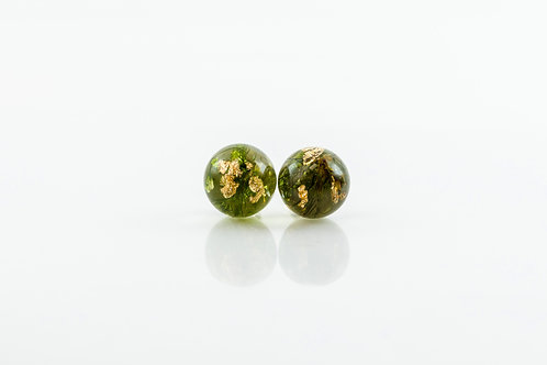 Moss & gold 925 sterling silver resin stud earrings