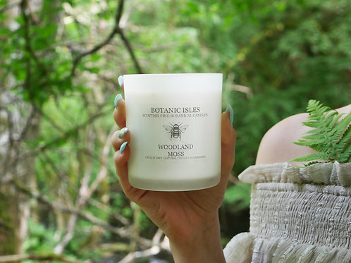 Woodland moss double wick frosted glass candle